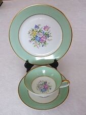 Vintage Rosenthal Selb Germany Trio Gold Trimmed Green Tea Cup Saucer & Plate