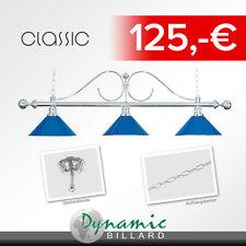 """Billiard Lampe """"Classic"""", blau , 3 Schirme, Ø35 cm, 147 cm"""
