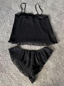 Women/ Ladies La Senza Black Pleated French Knicker Cami Set, UK 10