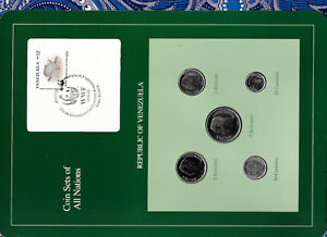 Coin Sets of All Nations Venezuela w/card 1989 UNC 5,2,1 Bolivares 50,25 Cents
