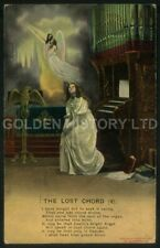 THE LOST CHORD (4) RELIGIOUS ANGEL CHURCH ORGAN PICTURE POSTCARD POSTED