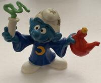 Smurf's Alchemist Smurf W.Germany Magician Wizard Vintage PVC Toy Figurine Bully