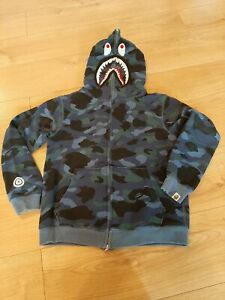 A Bathing Ape Blue Camouflage Shark Hoodie Size M (small sizing)