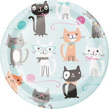 8 x Purrfect Cat Paper Party Dessert Plates Cat Kitten Lovers Birthday 18cm