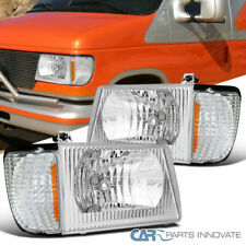 For 92-07 Ford Econoline Van Clear Headlights+Corner Parking Lamps Left+Right