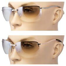 2 Lot Men Rectangular Rimless Transparent Sunglasses Eyewear Black Silver Gold