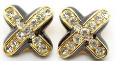 Stunning Vintage BLANCA Haute Couture Black Enamel Rhinestone Clip Earrings