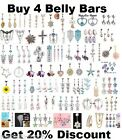 Dangle Belly Bar Reverse Clear Crystal Body Piercing New Belly Bars Navel Rings