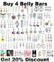 Belly Bar Clear Crystal Body Piercing New Belly Bars Navel Rings