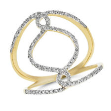 Diamond Cocktail Infinity Right Hand Ring Wide 14K Yellow Gold Pave Round