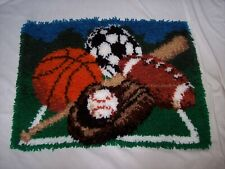 """Sports Completed Finished Latch Hook Rug / Wall Hanging ~ 20"""" x 27"""""""