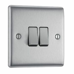 BG Electrical NBS42 10AX Double 2-Way Metal Brushed Steel Light Switch