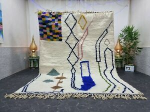 "Moroccan Handmade Beni Ourain Rug 7'x9'6"" Berber Abstract White Brown Wool Rug"