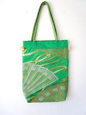 HANDMADE JAPANESE VINTAGE GREEN SILK OBI / SASH TOTE BAG NEW