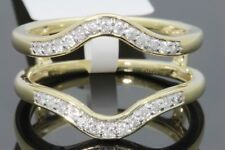10K YELLOW GOLD SOLITAIRE ENHANCER .28 CT DIAMOND RING GUARD WRAP WEDDING BAND