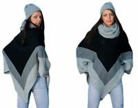 Mujer Cálido Poncho Jersey Suéter Capa de Chaqueta Chal Envolvente 154