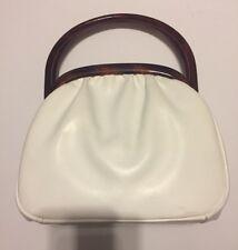 New listing Vintage Etra Leather Lucite Framed Handbag White