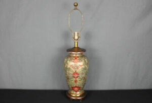 Frederick Cooper Asian style porcelain table lamp, painted floral chinoiserie