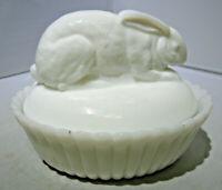 Vintage Milk Glass Dome Top Rabbit on a split rib Base