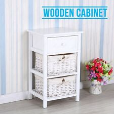 White Night Stand 2 Layer End Side Bedside Table Organizer w/Wicker Storage Wood