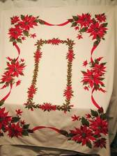 Vintage Christmas Tablecloth Cotton Rectangle Red Poinsettias Holly Ribbon 53x63