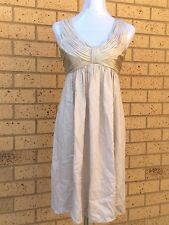 Witchery Dress Designer Silk Satin Pleated Bow Front Shirring Back Size S (6-8)