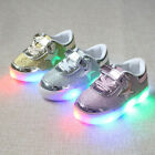 Kids Baby Boys Girls LED Light Up Sneakers Casual Flat Sport Party Dancing Shoes