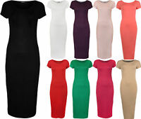 New Womens Plain Short Sleeve Ladies Scoop Neck Stretch Bodycon Midi Dress 8-14