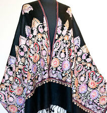 Colorful Crewel Embroidery on Black Wool Shawl Pashmina Style Embroidered Stole