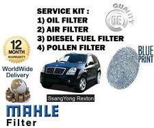 FOR SSANGYONG REXTON RX290 2.9TD 2002-> OIL AIR FUEL POLLEN FILTER SERVICE KIT