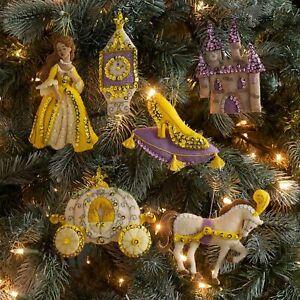 Bucilla Glass Slipper Felt Christmas Ornaments Kit (6) Cinderella Princess Queen