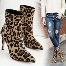 Womens Leopard Stilettos High Heels Pumps Suede Side Zipper Party Ankle Boots