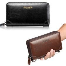 Men's Long Leather Zipper Wallet Phone Business Card Holder Clutch Handbag Purse