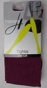 Hanes Matte Opaque Control Top Tights Sparkling Purple Size Medium
