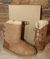 NIB UGG KRISTABELLE Corset Bow Suede Boots Chestnut Youth 6 Women's 8