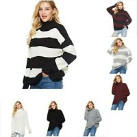 Women's High Turtleneck Loose Fit Sweater Cashmere Blends Pullover Sweatshirts