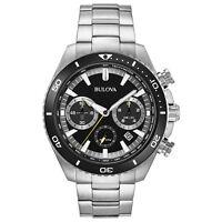Bulova Men's Quartz Chronograph Rotating Bezel Black Dial 45mm Watch 98B298