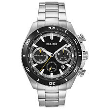Bulova Men's Quartz Chronograph Rotating Bezel Black Dial 45mm Watch 98B298
