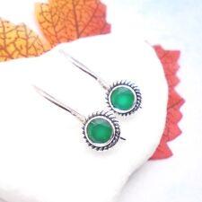 Indischer Smaragd grün rund Design Ohrringe Ohrhänger 925 Sterling Silber neu