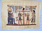 "Egyptian Papyrus Painting Judgement Scene Horus Anubis Scribe 13""X17"""