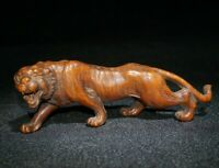 fengshui Decor natural boxwood carved zodiac Ferocious tiger statue figurines