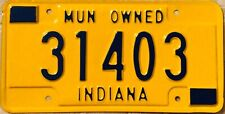 Indiana  license plate - Municipal Owned - Government- Genuine