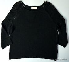 Jones New York Womens Petite XL Black Open Knit Shoulder & Sleeve Sweater PXL