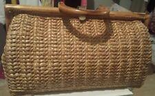 LARGE Vintage Straw Satchel Purse Bag