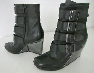 COOLE Designer  UNITED NUDE schwarze Damen Stiefeletten Schnallen Lack Gr.  40