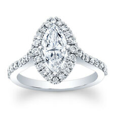 Solitaire 2.20Ct Diamond 14K Gold Engagement Rings Womens Wedding Ring Size P