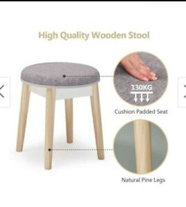 Dressing Stool Vanity Makeup Padded Cushioned Chair Wood Leg Piano Seat