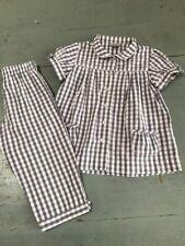 ++ CYRILLUS ++ 8 ans ++ Pyjama d'été blouse et pantacourt vichy et noeuds ++ TBE