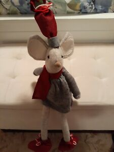 Mouse Shelf Sitting Stuffed Animal, Christmas Colors, Pre-owned