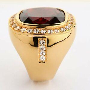 Huge Natural Men's Red Garnet Ring, Men's 14K Yellow Gold Ring New